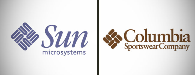 Sun Microsystems and Columbia Sportswear Logo Before and After